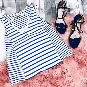 Boden Cotton tank top blue and white